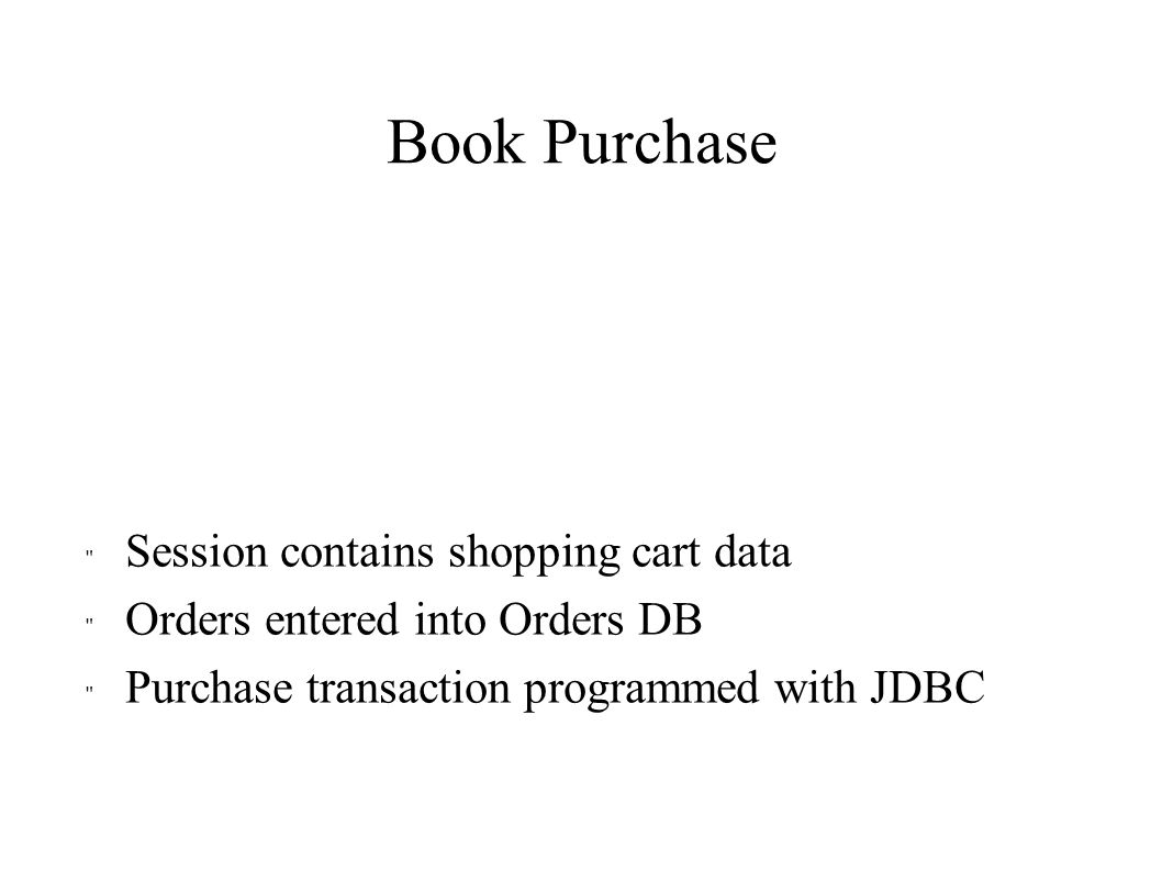 Book Purchase Session contains shopping cart data