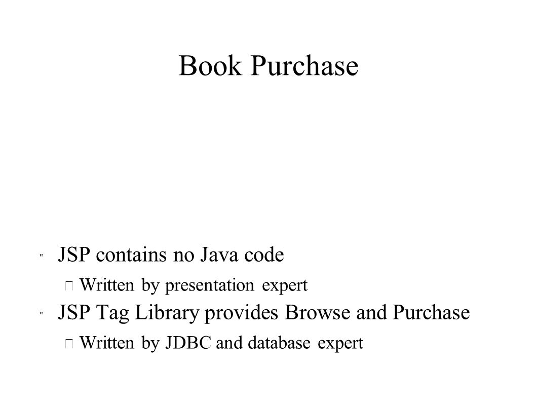 Book Purchase JSP contains no Java code