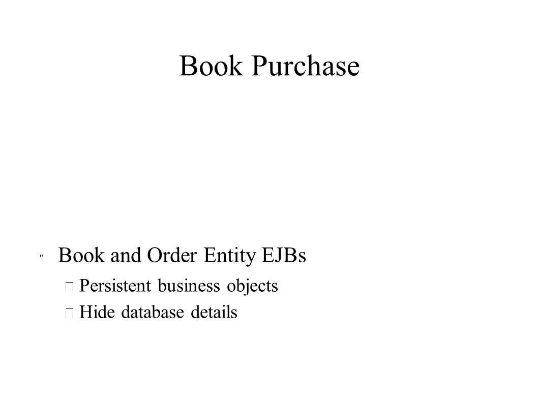 Book Purchase Book and Order Entity EJBs Persistent business objects