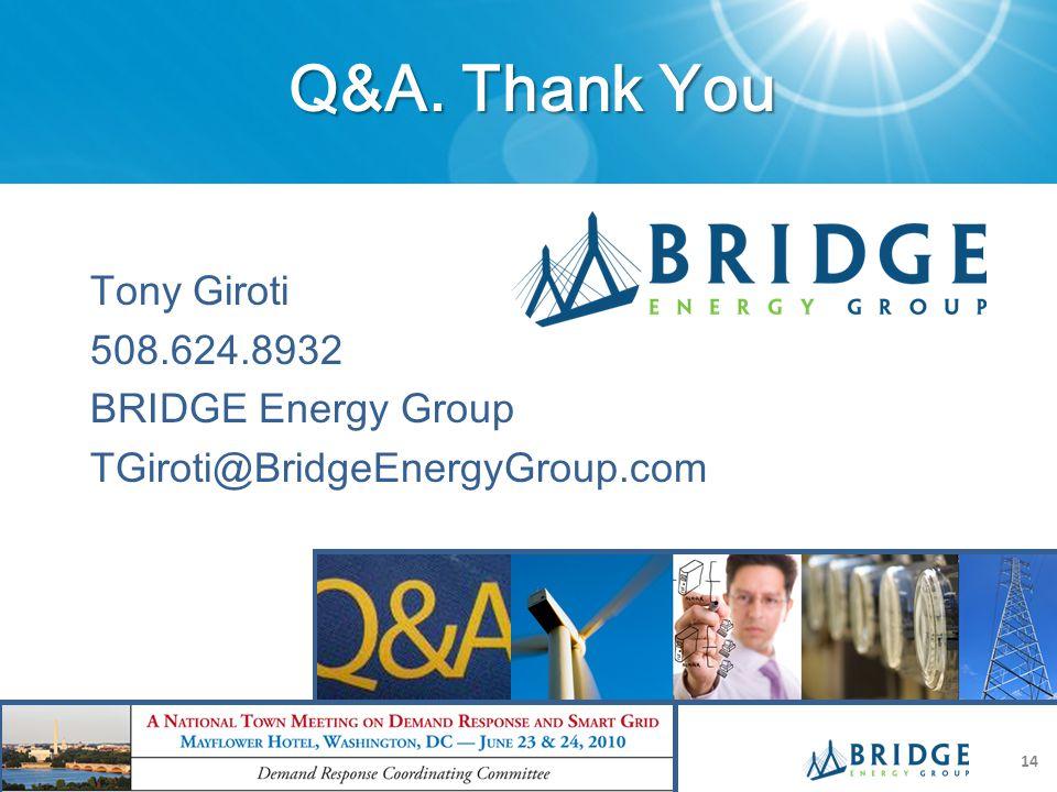 Q&A. Thank You Tony Giroti 508.624.8932 BRIDGE Energy Group