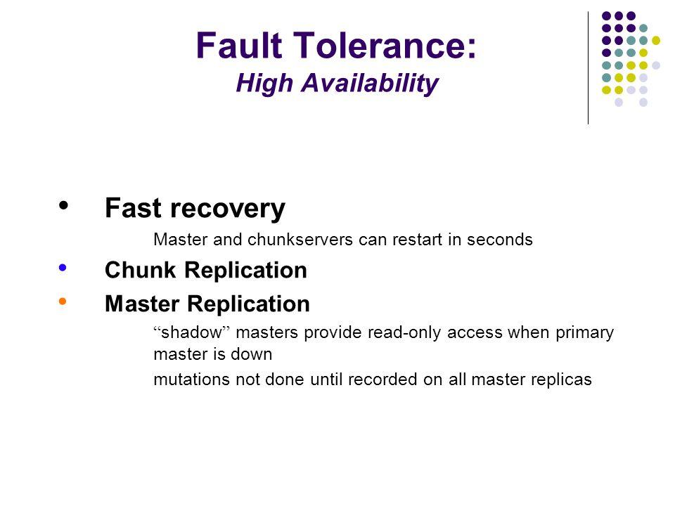 Fault Tolerance: High Availability