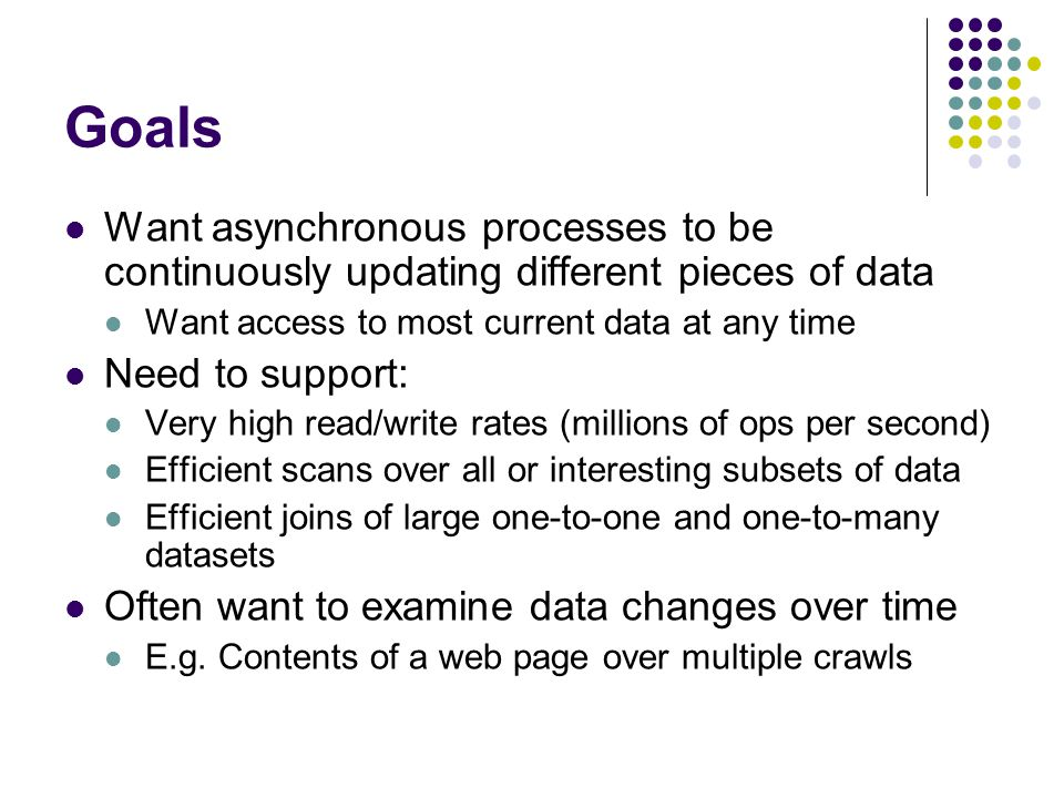 Goals Want asynchronous processes to be continuously updating different pieces of data. Want access to most current data at any time.