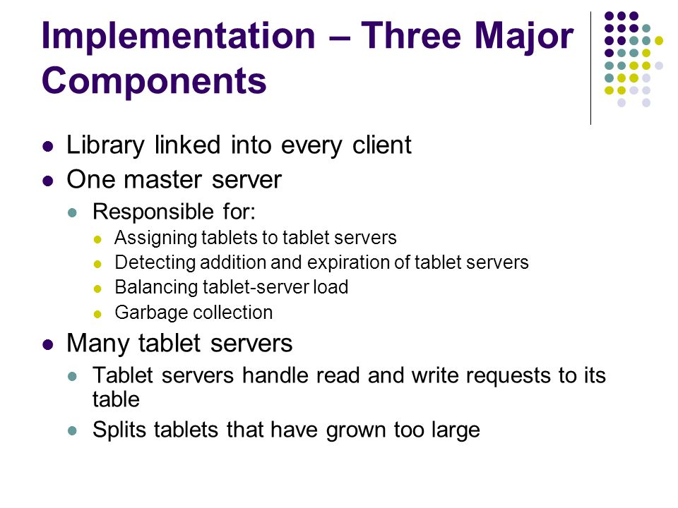 Implementation – Three Major Components