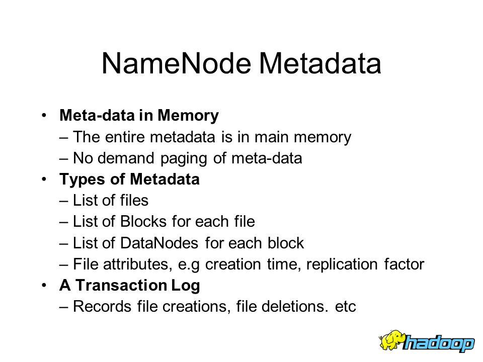 NameNode Metadata Meta-data in Memory