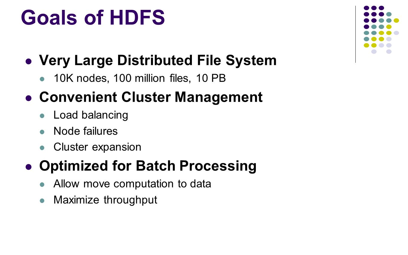Goals of HDFS Very Large Distributed File System