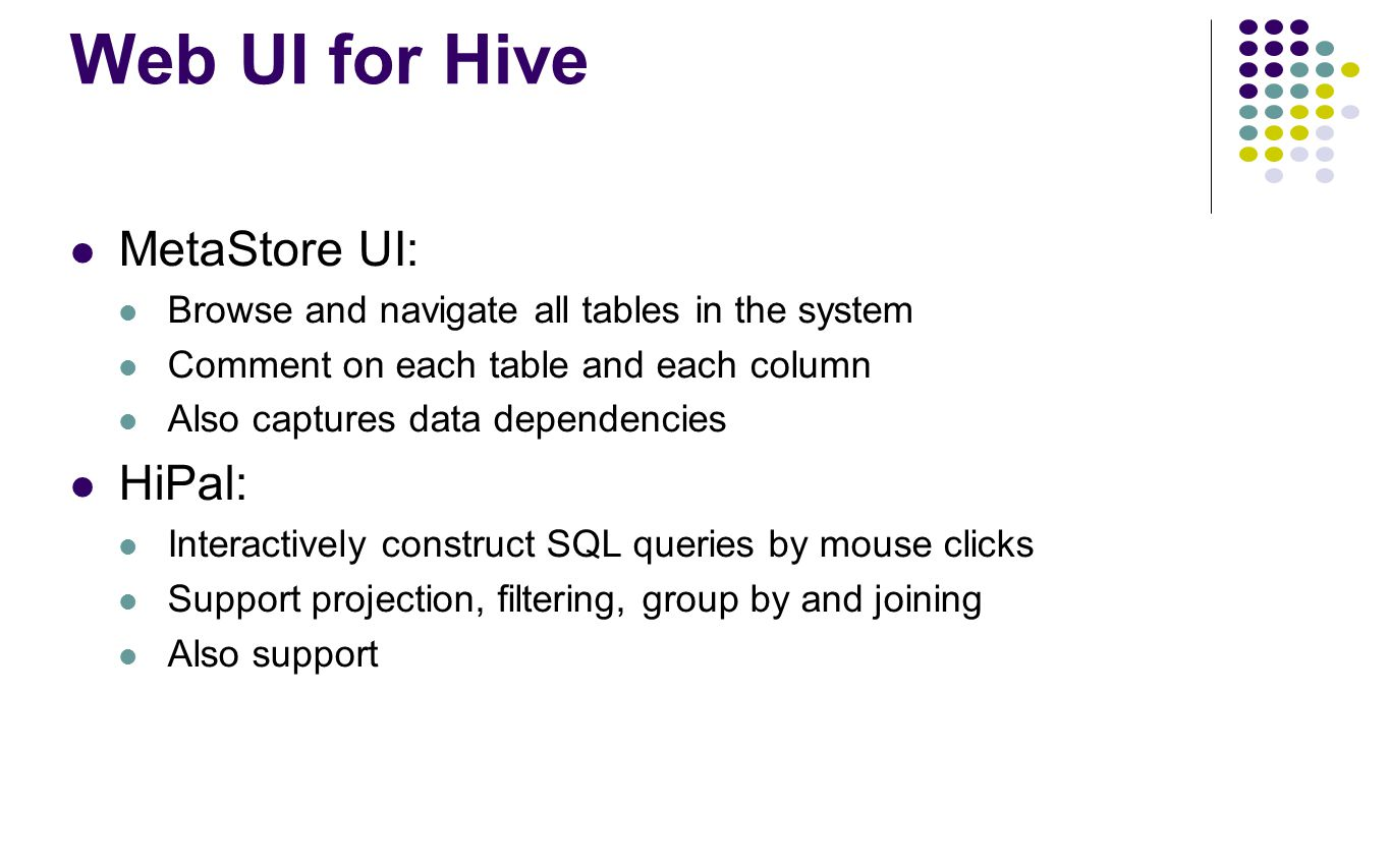 Web UI for Hive MetaStore UI: HiPal: