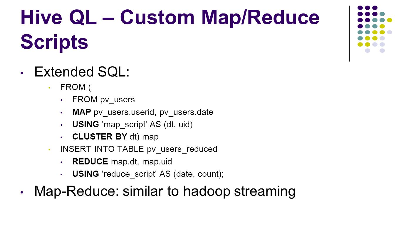 Hive QL – Custom Map/Reduce Scripts