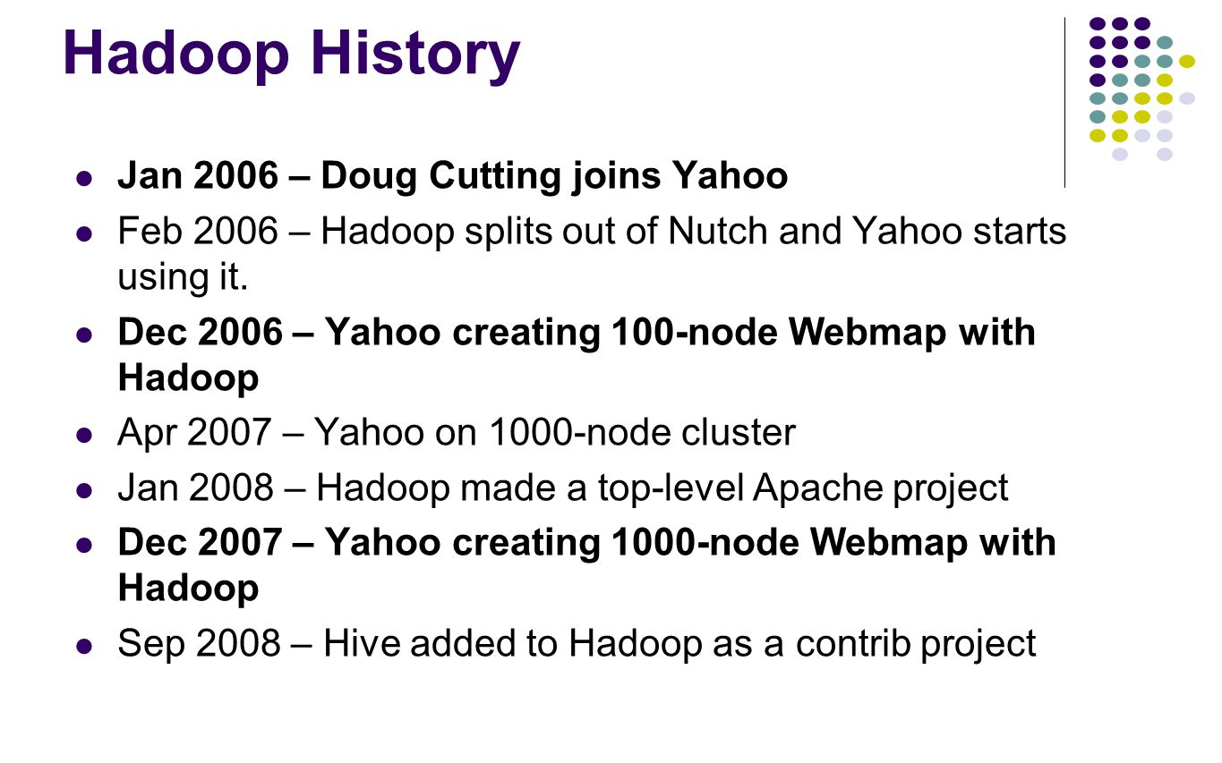 Hadoop History Jan 2006 – Doug Cutting joins Yahoo