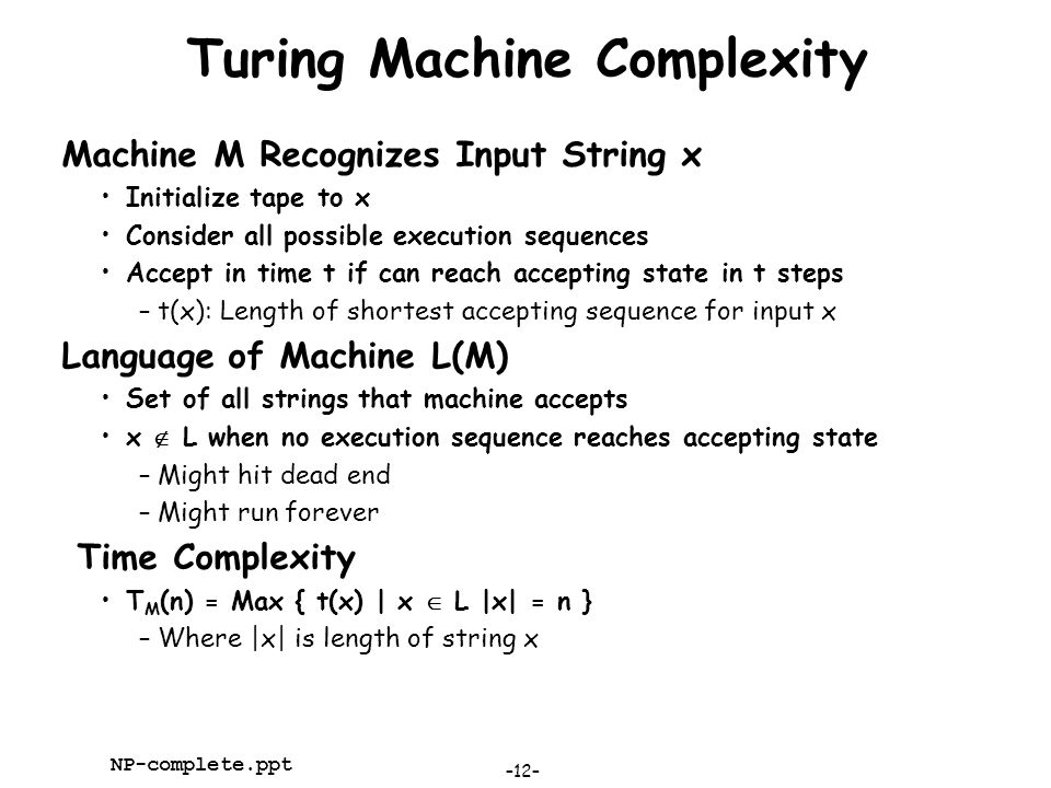 Turing Machine Complexity