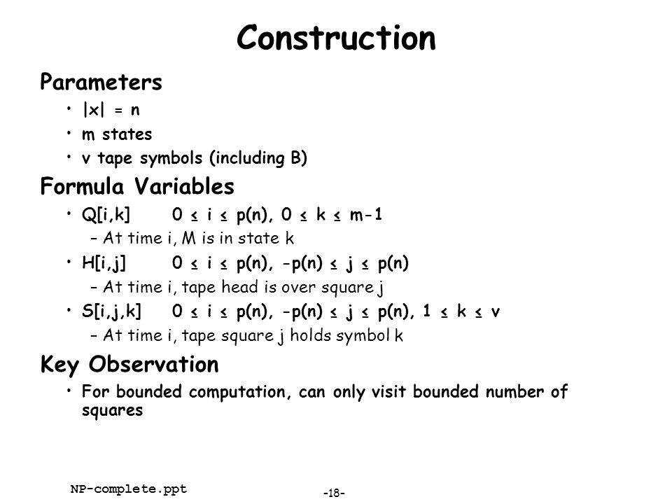 Construction Parameters Formula Variables Key Observation |x| = n