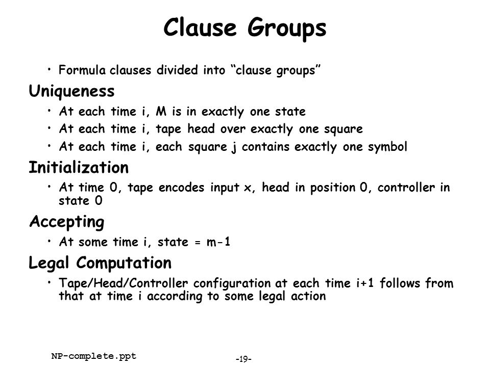 Clause Groups Uniqueness Initialization Accepting Legal Computation