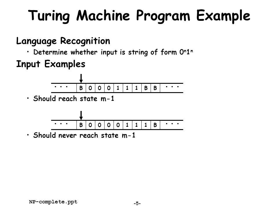 Turing Machine Program Example
