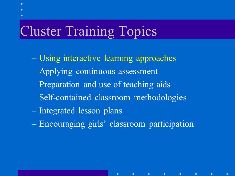 Cluster Training Topics