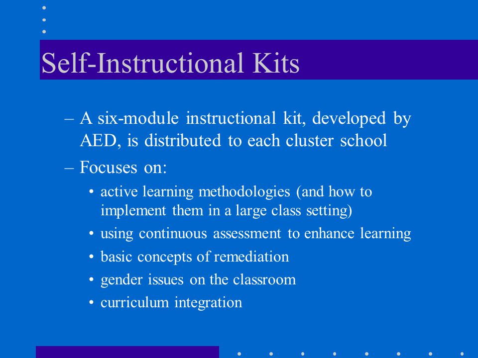 Self-Instructional Kits