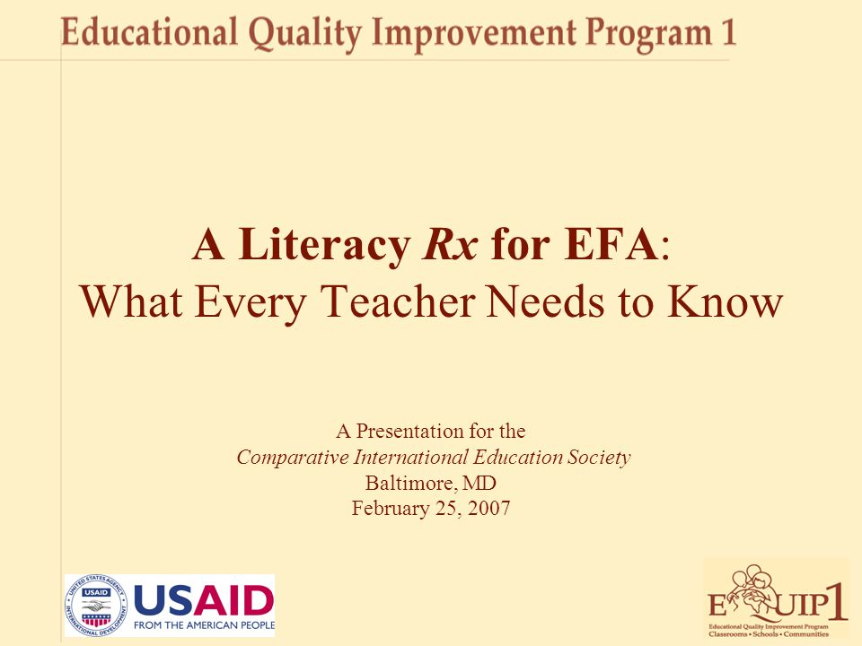A Literacy Rx for EFA: What Every Teacher Needs to Know