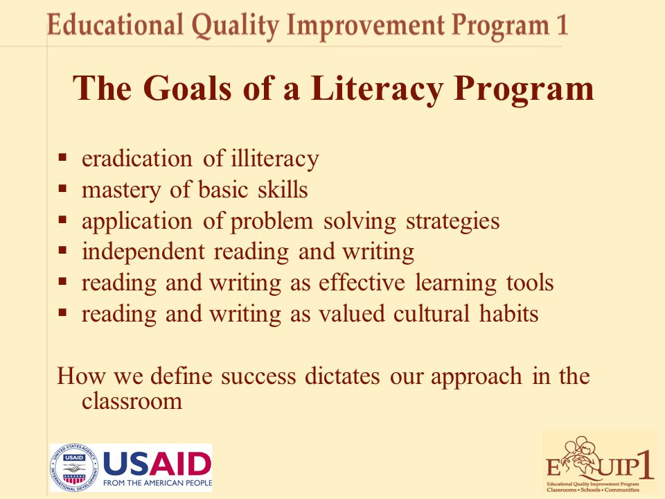 The Goals of a Literacy Program
