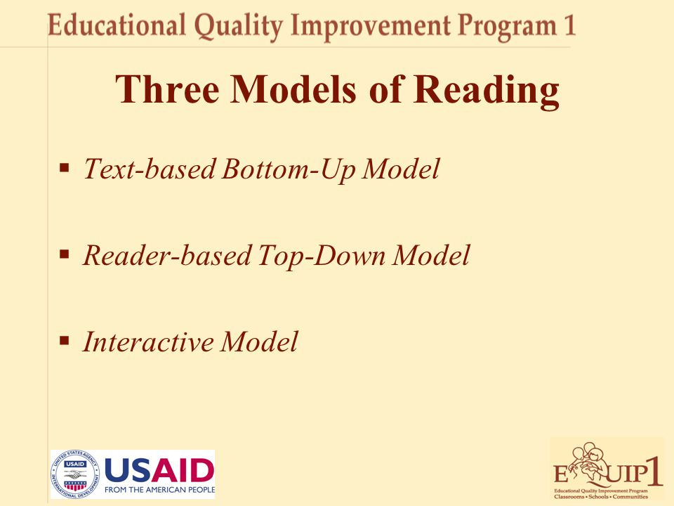 Three Models of Reading