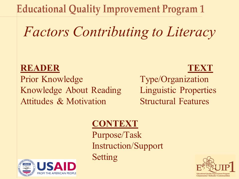 Factors Contributing to Literacy