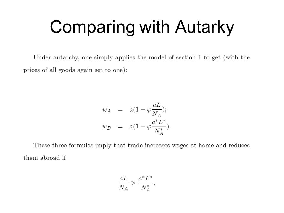 Comparing with Autarky