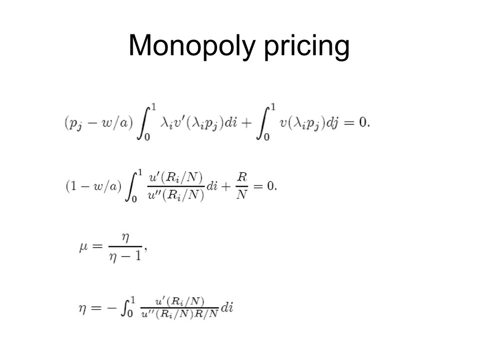 Monopoly pricing