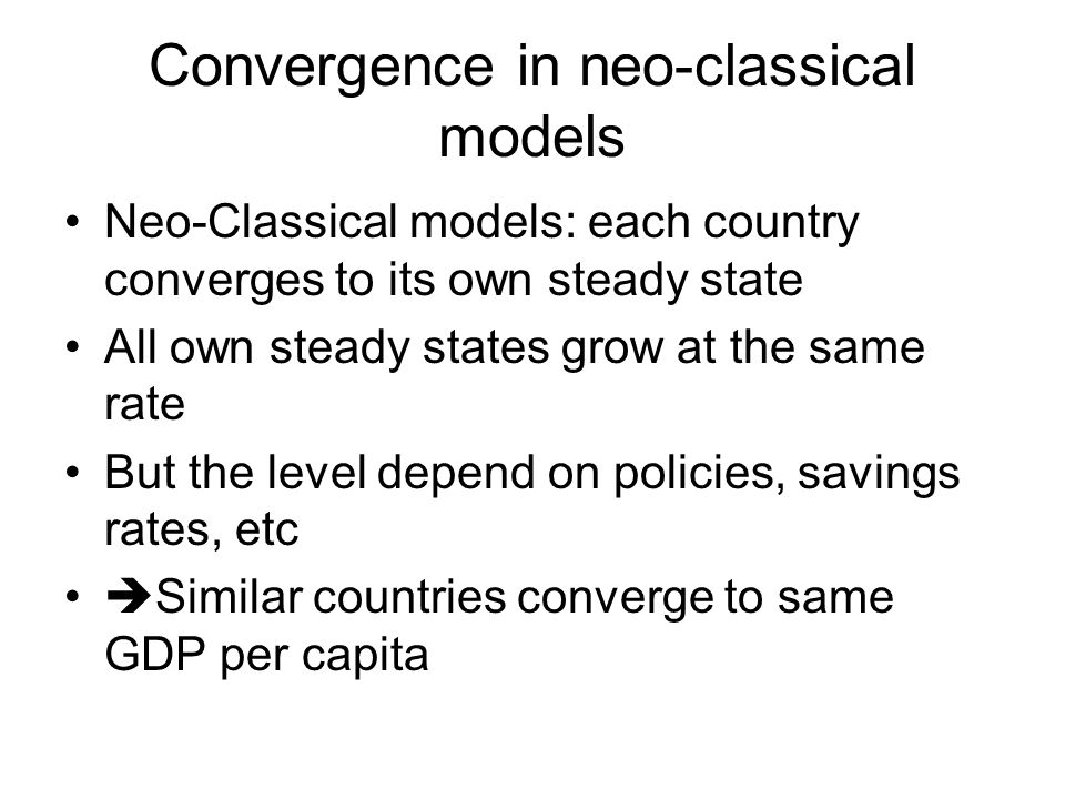 Convergence in neo-classical models