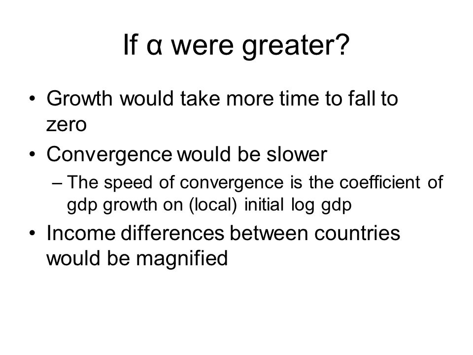If α were greater Growth would take more time to fall to zero