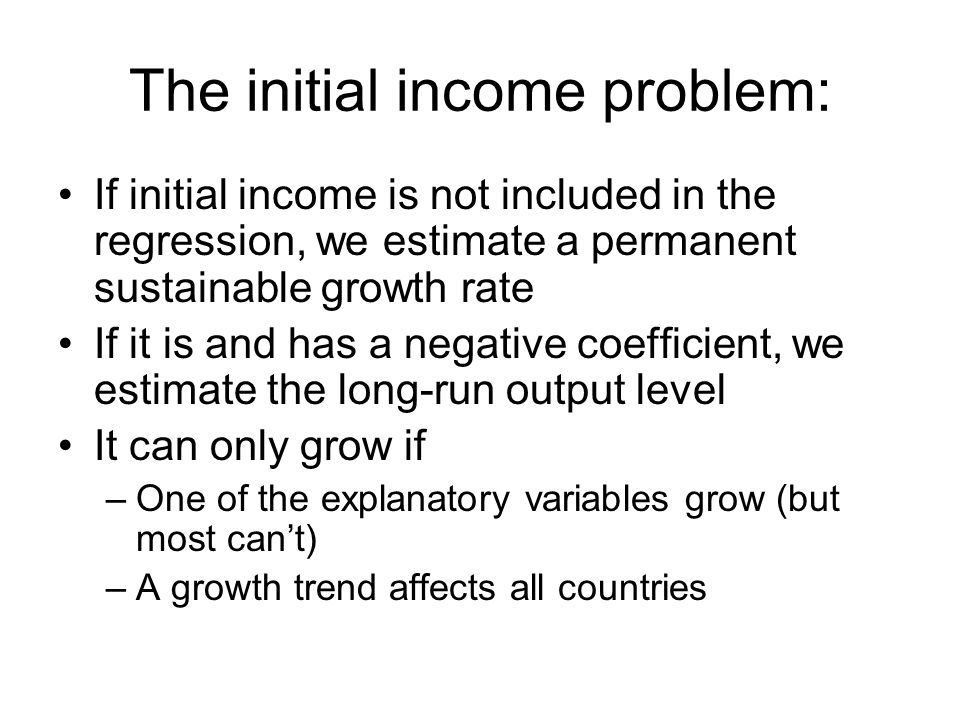The initial income problem: