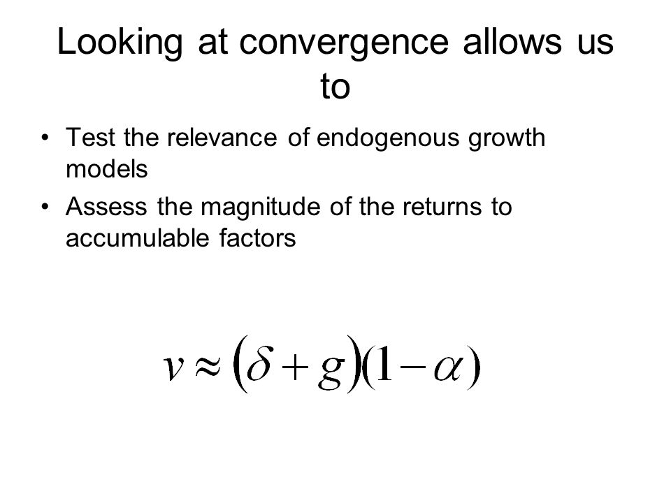 Looking at convergence allows us to