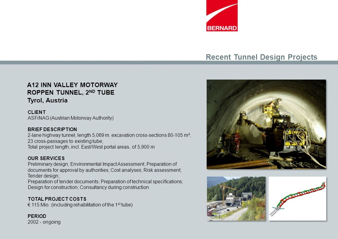 Recent Tunnel Design Projects