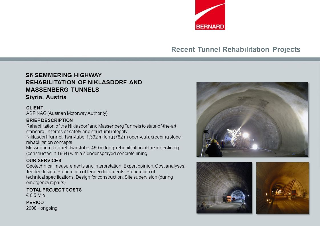 Recent Tunnel Rehabilitation Projects