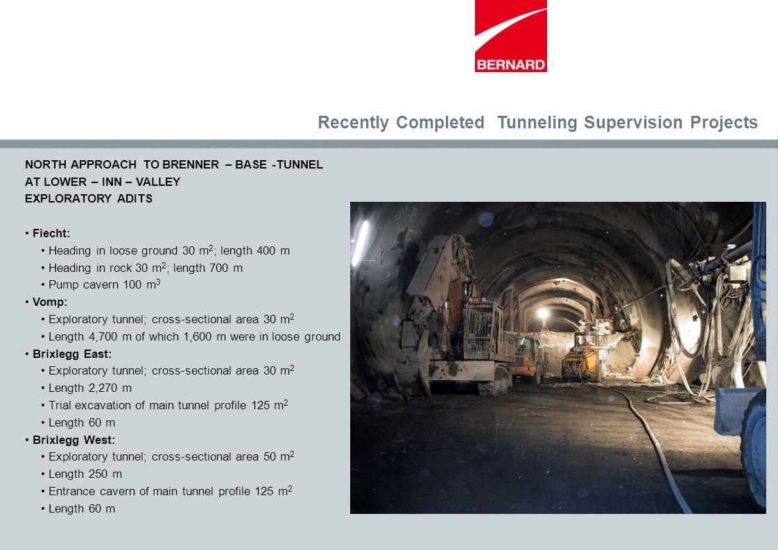 Recently Completed Tunneling Supervision Projects