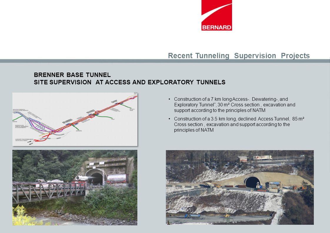 Recent Tunneling Supervision Projects