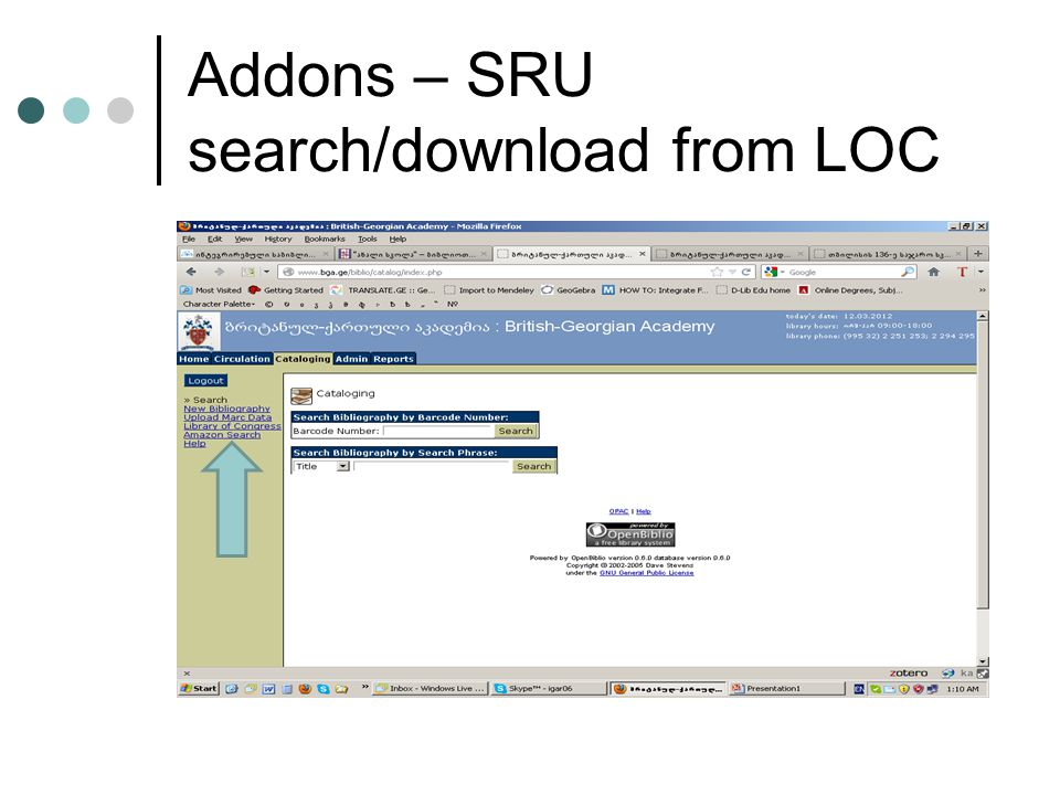 Addons – SRU search/download from LOC
