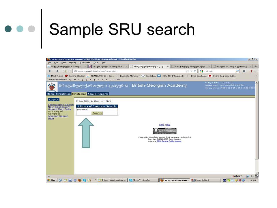 Sample SRU search