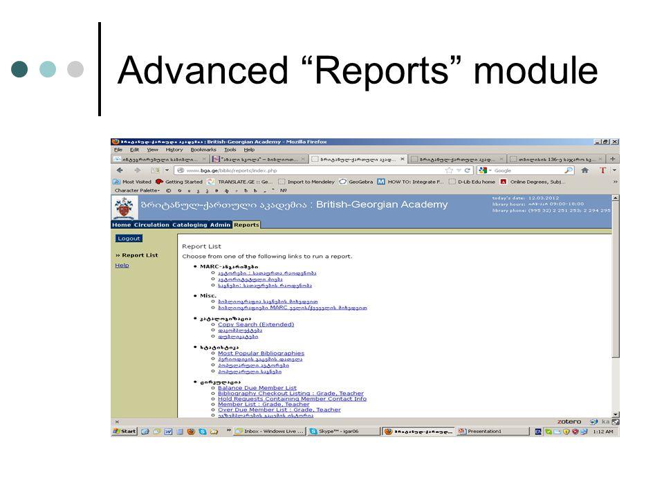 Advanced Reports module
