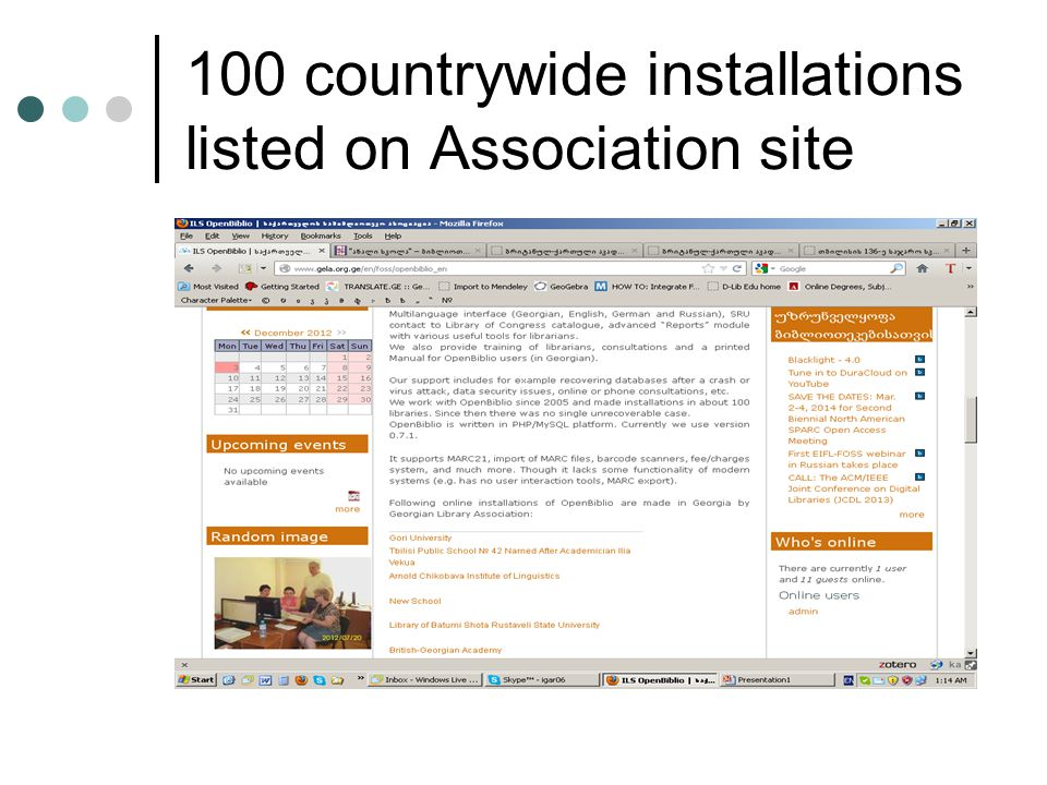 100 countrywide installations listed on Association site