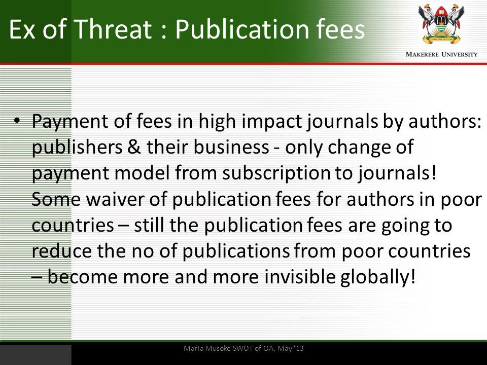 Ex of Threat : Publication fees