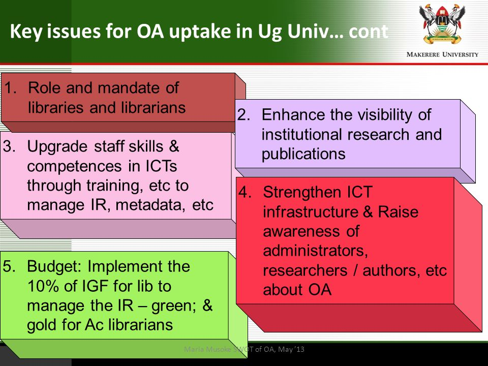 Key issues for OA uptake in Ug Univ… cont