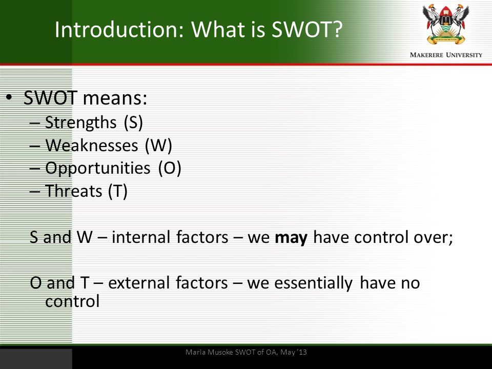 Introduction: What is SWOT