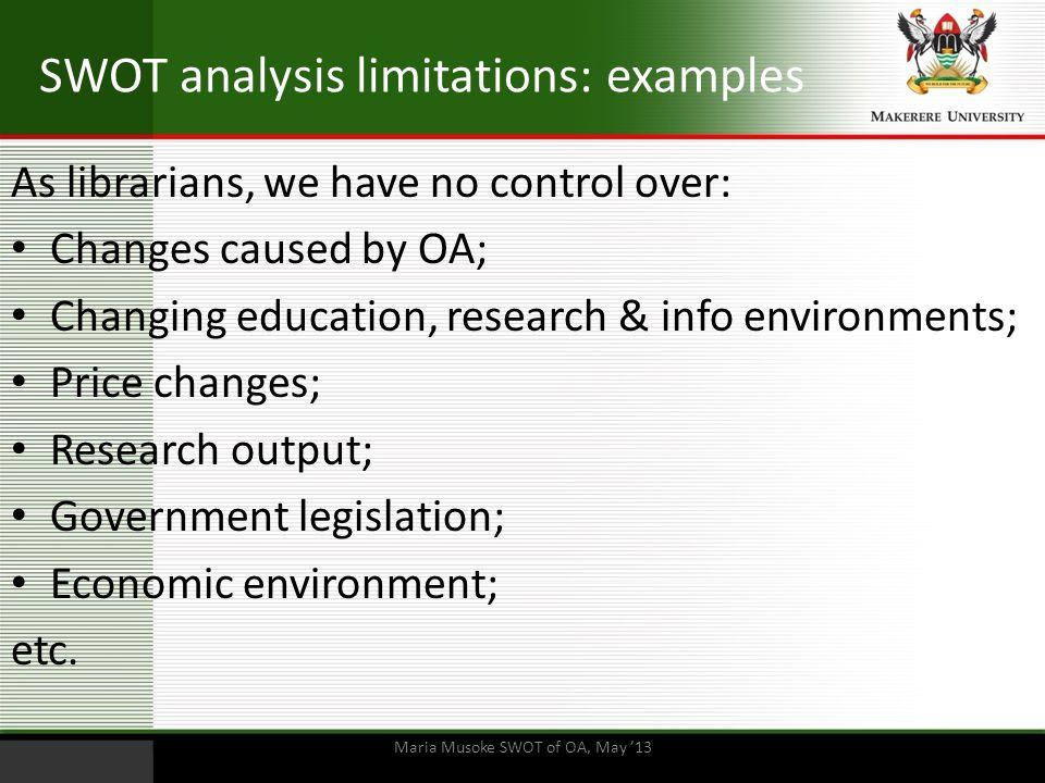 SWOT analysis limitations: examples
