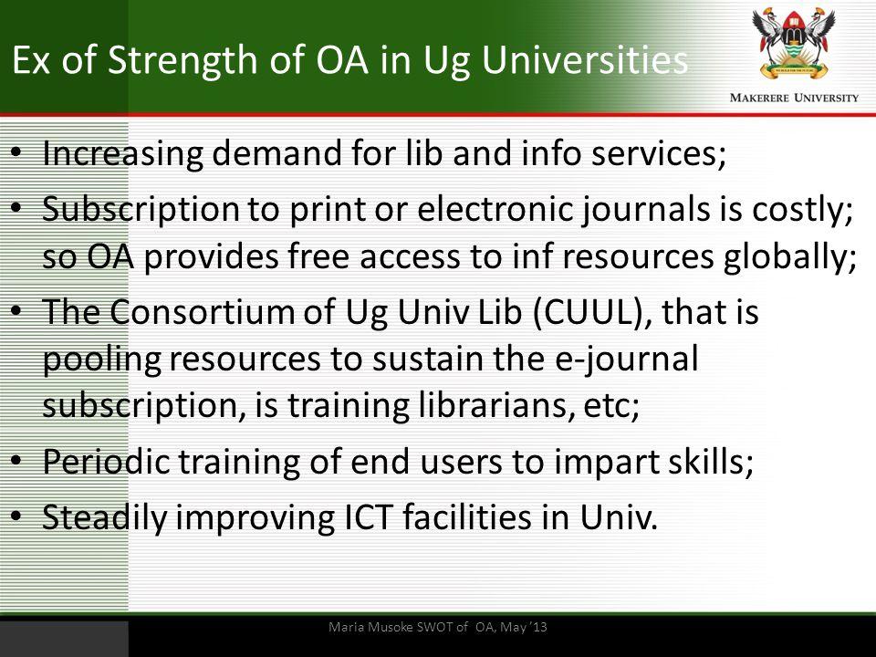 Ex of Strength of OA in Ug Universities