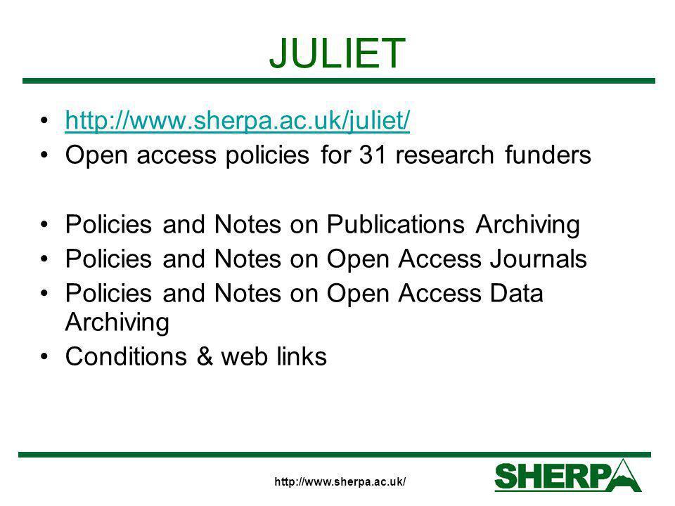 JULIET http://www.sherpa.ac.uk/juliet/