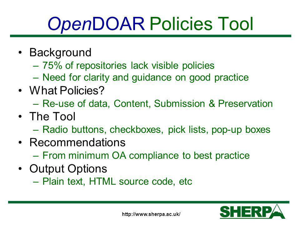 OpenDOAR Policies Tool