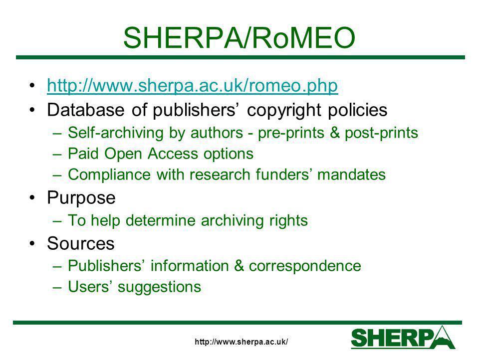 SHERPA/RoMEO http://www.sherpa.ac.uk/romeo.php