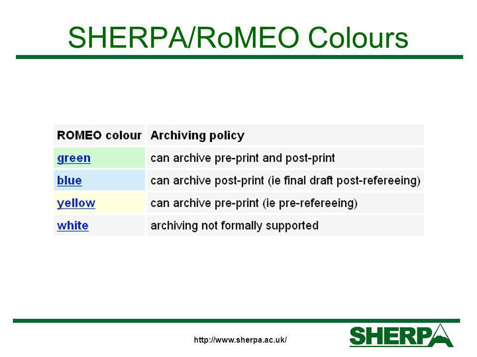 SHERPA/RoMEO Colours