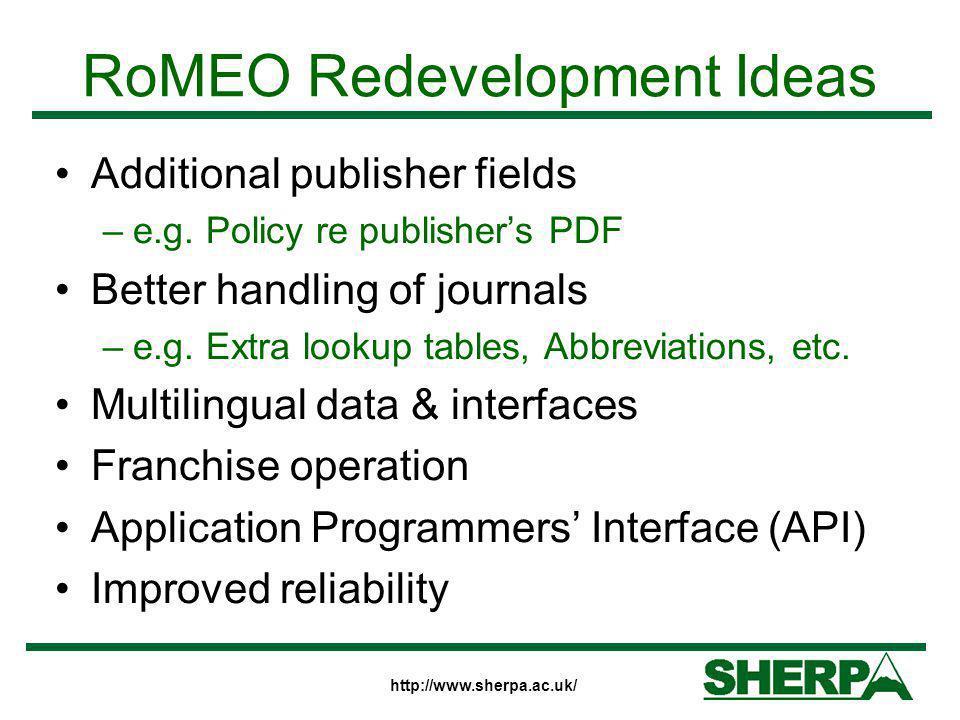 RoMEO Redevelopment Ideas