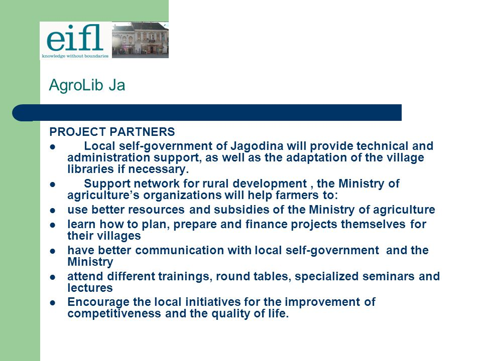 AgroLib Ja PROJECT PARTNERS