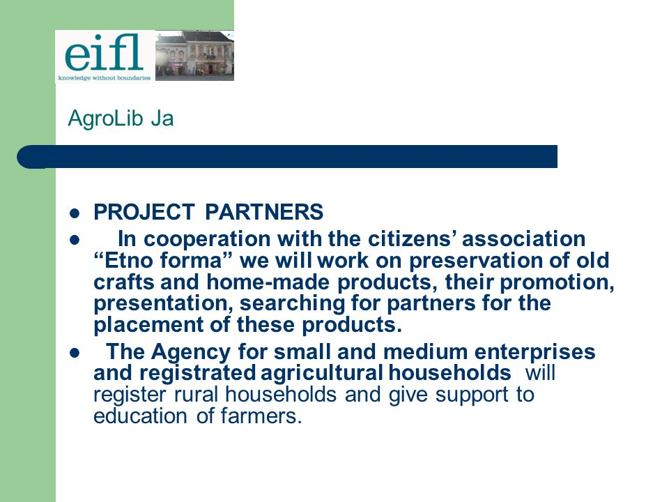 AgroLib Ja PROJECT PARTNERS.