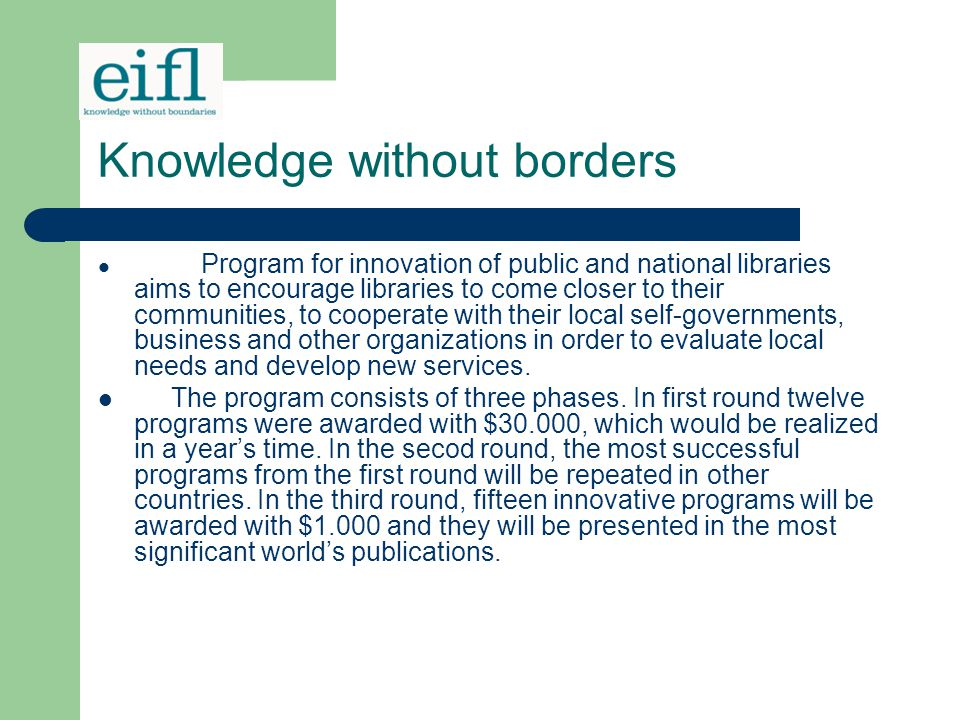 Knowledge without borders
