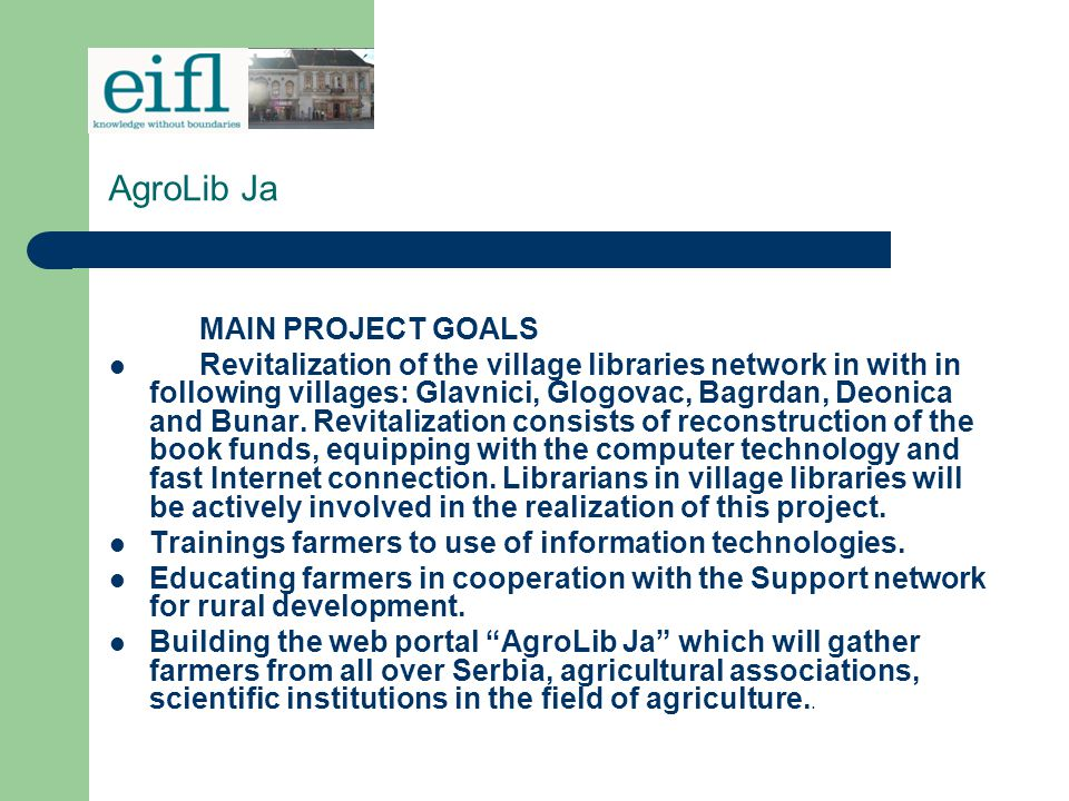 AgroLib Ja MAIN PROJECT GOALS